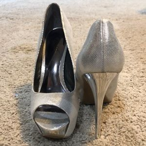 Shiny silver stiletto heels